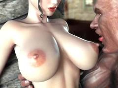Animated in red dress gets nipples licked