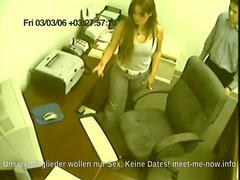 German security cam captures a dirty secretary giving a handjob