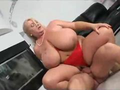 Fat white granny gets facial load