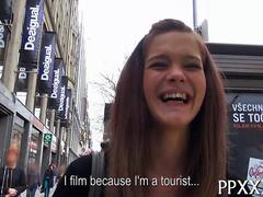 Hot teen babe decides to get laid and earn cash in public