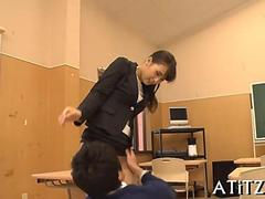 Asian teacher gets her pantyhose torn by a horny student