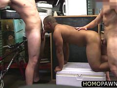 Short dude sucked dick while his sweet ass pounded hard in the shop