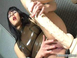 Desyra Noir warming up for a big white dildo