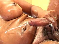 Bigtitted shemale fingering her phat ass while jerking cock