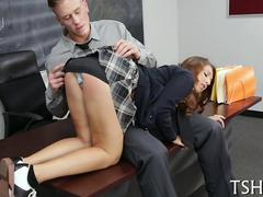 Teen schoolgirl spanked and fucked by her horny teacher in class