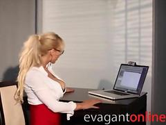 Blonde secretary MILF with glasses teases with huge tits