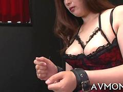 Busty Japanese domination slave toyed in her finest corset and lingerie