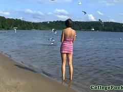 Tattooed coed assfucked outdoor