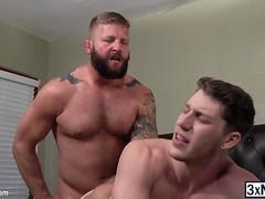 Muscle men Colby Jansen and Paul Canon taste each others sticky cumshot