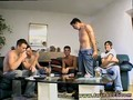 Smoking twinks play poker and strip to jerk off on a couch