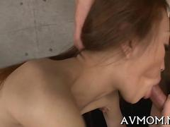 Skinny Japanese chick getting fucked in her hairy pussy uncensored