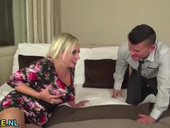 Blonde mature getting drilled by a young guy
