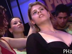Hot euro ladies suck dick after a club orgy erupts on the dance floor