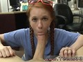 redhead pigtail slut sucking and blowing that erection in close up
