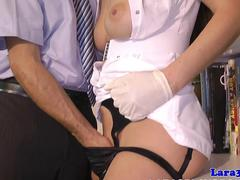 Nurse uniform MILF gets her pussy pleasured