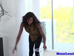 Busty ebony pussylicked by tanlined milf
