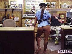Brunette big ass police woman pose nude and gets fucked from behind by a huge cock