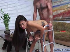 Michelle Martinez hot fuck with two old men