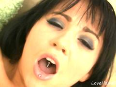 Using a vibrator on her wet clit