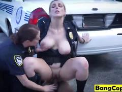 Homie gets forced to fuck couple of busty female cops