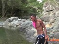 Tall lean Latino skinny-dipping before oral 2some