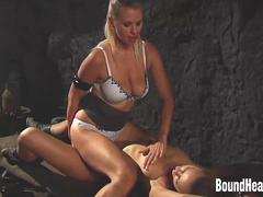 Busty Mistress Kissing And Touching Slave Pussy