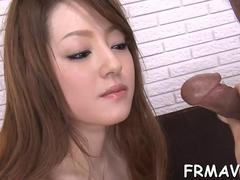 Amazing Japanese babe blows a fat fuck stick with pleasure