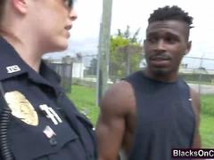 Nasty police whores arrested a black guy and forced him on a hardcore sex
