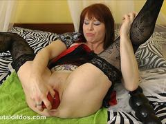 DirtyGardenGirl anal prolapses from a fat brutal dildo