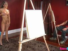 Nude art Model gets a lesson in Dick