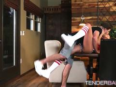 Awesome brunette Adria Rae in football jersey gets drilled
