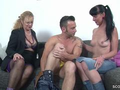 Lucky guy finds himself in the middle of a two horny milfs