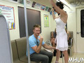 This brunette milf is eager to fuck in a public and gets it done in a train