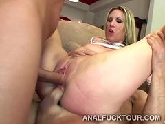 Two huge dicks break a hot blondie in two with deep dp