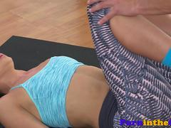 Ivana Sugar streched by yoga instructor