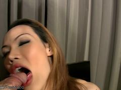 Small titted Asian t-girl blows Rafes boner and jizzes cum