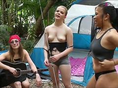 Four teen BFFs fucked by camping counselor inside the tent