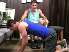 Fit muscular Sergey gets feet licked and worshiped by friend