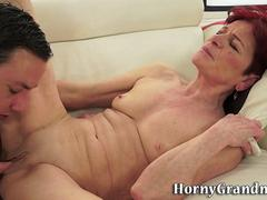 Horny granny is ready to swallow that fat member and then to get it on in multiple poses with this horny lad