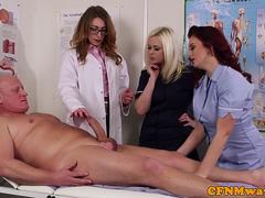 CFNM nurses making a lucky patient cum