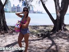 Wild fun in a Bus in Miami with Evelin Stone
