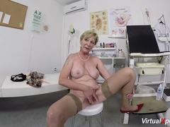 Granny wants to tease and touch her self with fingers and toys in front of a webcam