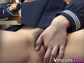 Kinky Japanese schoolgirl plays with her hairy twat in public
