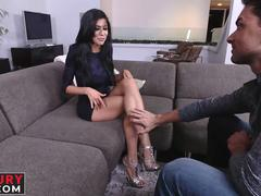 Exquisite brunette angel loves those foot fetish sessions