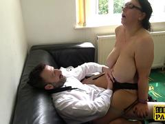 Mature british slut titfucks and rides cock