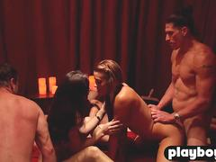 Black swinger couple enjoys fucking with other couples