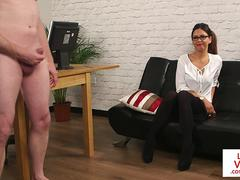 Spex english voyeur instructs from the couch