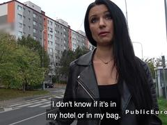 Raven haired busty babe fucks in public