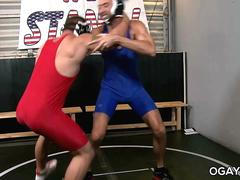 Gay wrestlers having fun in the training