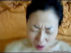 Asian big belly Korean slut rides a hot cock so hard
